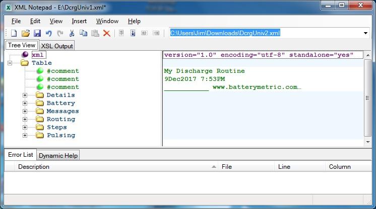 Using XMLNotepad for Program Editor