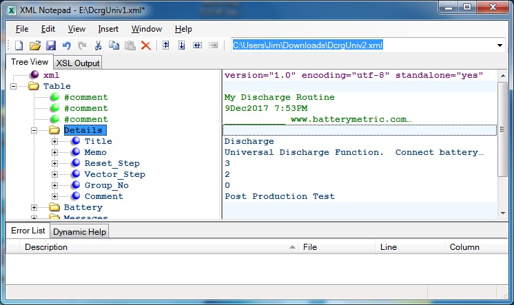 Battery Details in Program Editor