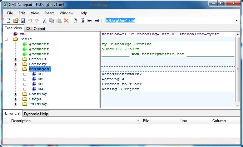 Program Messages using XMLNotepad editor