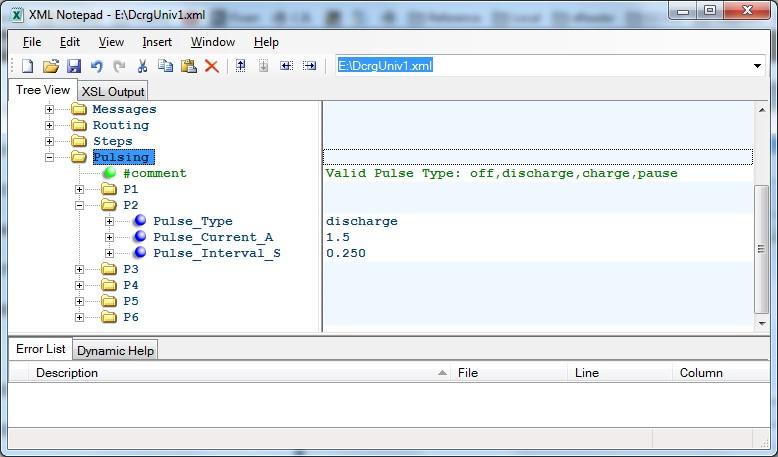 Editing Pulsing with XMLNotepad editor
