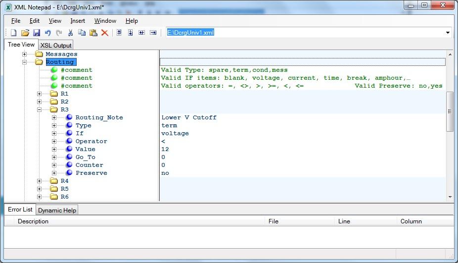 Program Routing Statements using XMLNotepad editor