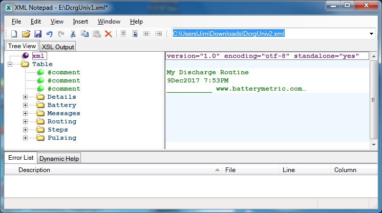 Using XMLNotepad for Program Editor