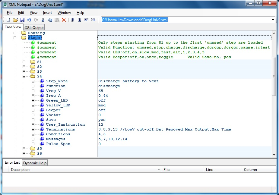 Program Steps using XMLNotepad editor
